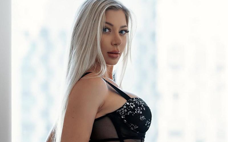 beautiful polish woman in black bra