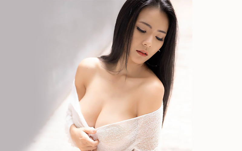 beautiful korean bride in white top